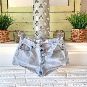 Melville Light Wash Distressed Cut off Shorts